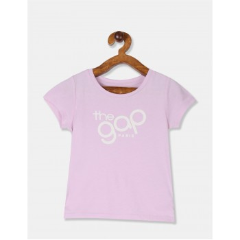 GAP Girls Purple Printed T-Shirt