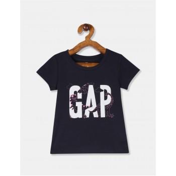 GAP Girls Blue Printed T-Shirt