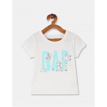 GAP Girls White Printed T-Shirt