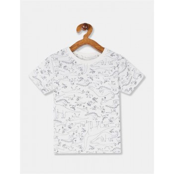 GAP Boys White Printed T-Shirt