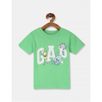 GAP Boys Green Printed T-Shirt