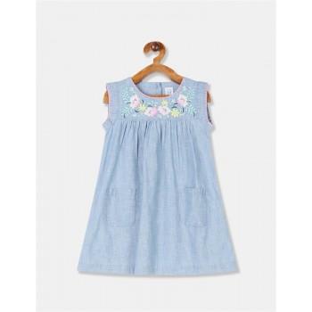 GAP Girls Blue Embroidered Dress