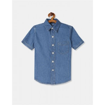 Gap Boys Blue Solid Shirt