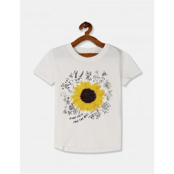 GAP Girls White Embellished T-Shirt