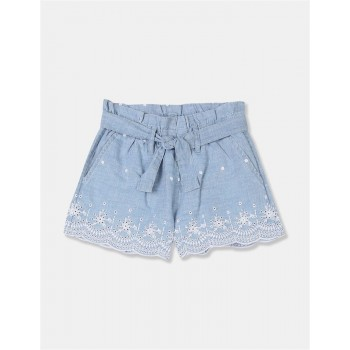 GAP Girls Blue Embroidered Shorts