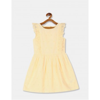 GAP Girls Yellow Embroidered Dress
