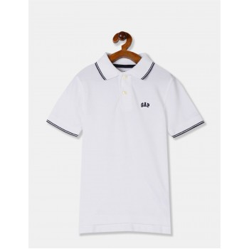 GAP Boys White Solid T-Shirt
