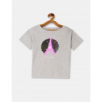 GAP Girls Grey Embellished T-Shirt