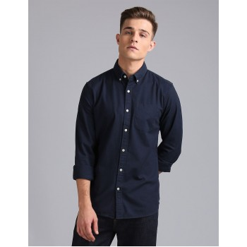 Gap Men Casual Wear Navy Shirt