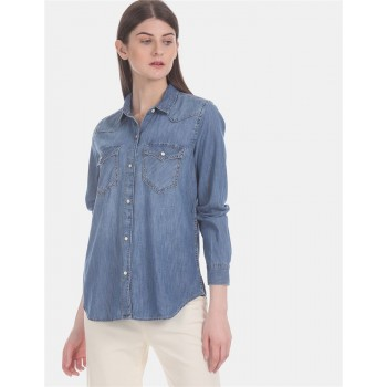 Gap Women Casual Wear Blue Shirt