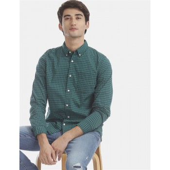 Gap Men Casual Wear Green Shirt