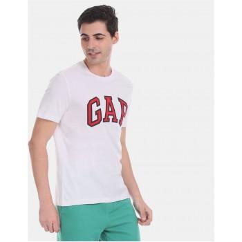 Gap Men Casual Wear White T-Shirt