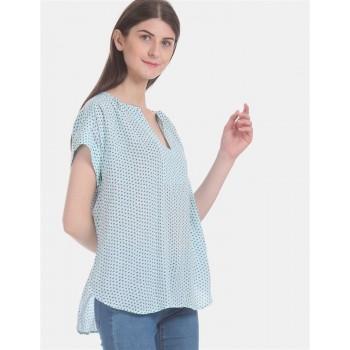 Gap Women Casual Wear Blue High Low Top