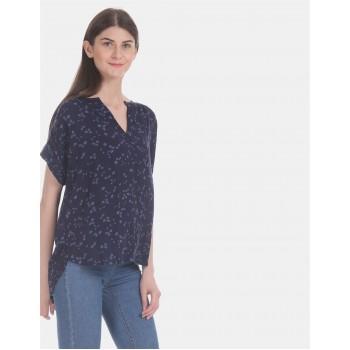 Gap Women Casual Wear Navy Blue High Low Top