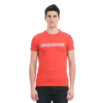 Gas Jeans Men Casual Wear Red T-Shirt