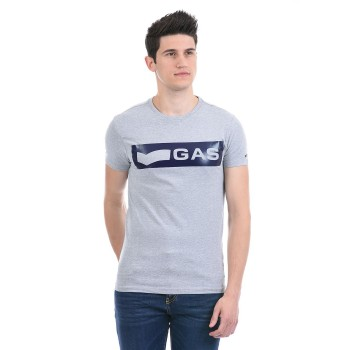 Gas Jeans Men Casual Wear Grey T-Shirt