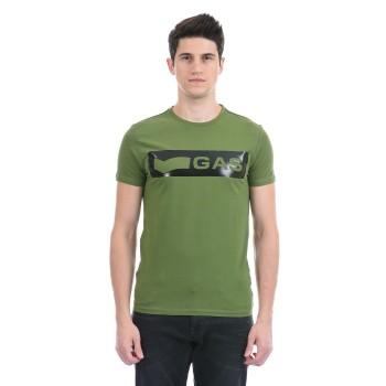 Gas Jeans Men Casual Wear Green T-Shirt
