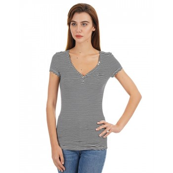 Guess Women Striped Casual Wear T-Shirt