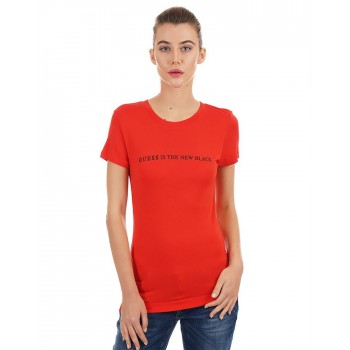 Guess Women Chest Print Casual Wear T-Shirt