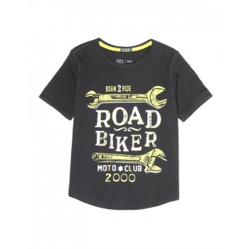 Indian Terrain Kids Boys Casual Wear Black T-Shirt