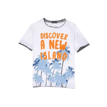 Indian Terrain Kids Boys Casual Wear White T-Shirt