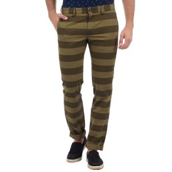 Indian Terrain Men Casual Wear Striped Trousers
