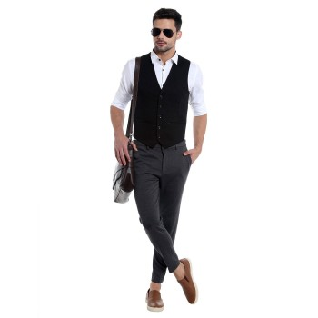 Jack & Jones Men Casual Wear Solid Waistcoat