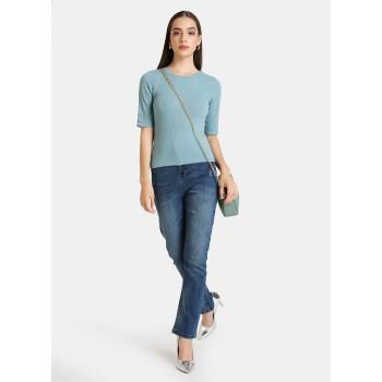 Kazo Women Casual Wear Blue Casual Top