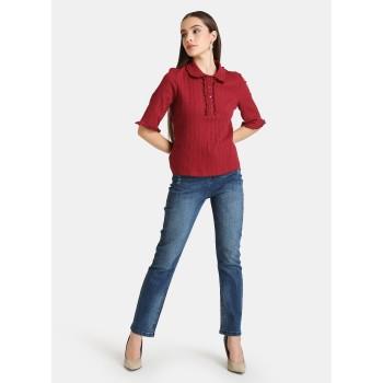 Kazo Women Casual Wear Red Polo T-shirt