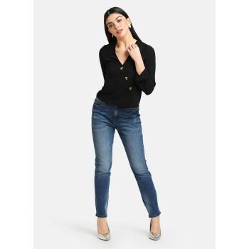 Kazo Women Casual Wear Black Casual Top