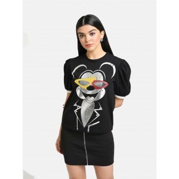 Kazo Women Casual Wear Black Casual T-shirt