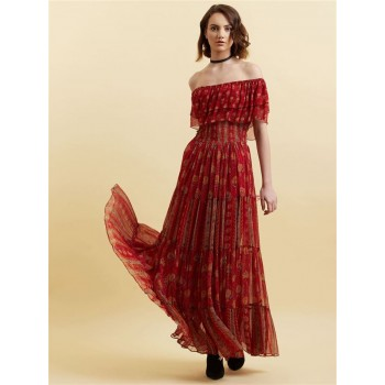 Label Women Printed Red Maxi Dress