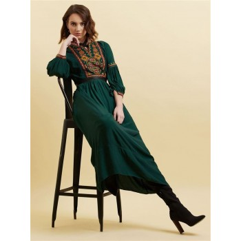 Label Women Printed Dark Green Maxi Dress