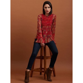 Label Women Printed Red Peplum Top