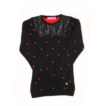 London Fog Girls Casual Wear Polka Print Sweater