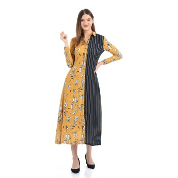 Madame Women Casual Wear Yellow Fit and Flare Dress