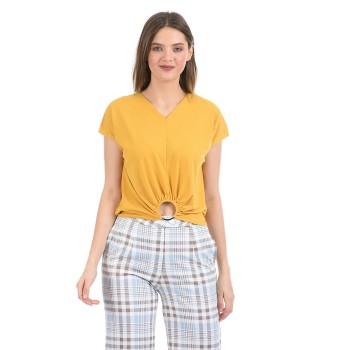Madame Women Casual Wear Yellow Regular Top