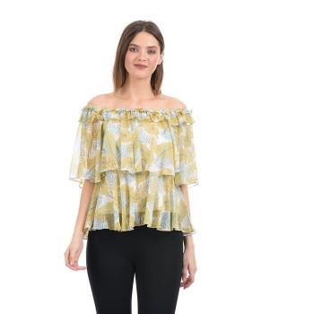 Madame Women Casual Wear Yellow Ruffle Top