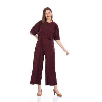 Madame Women Casual Wear Maroon Jump Suit
