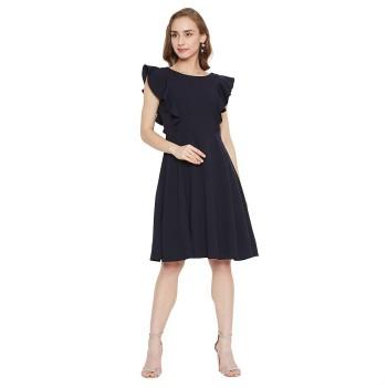 Madame Women Casual Wear Navy Blue Fit & Flare Dress