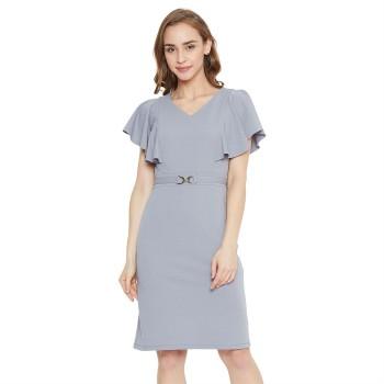 Madame Women Casual Wear Grey Sheath Dress