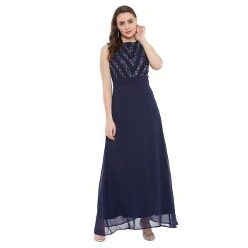 Madame Women Casual Wear Navy Blue Maxi Dress