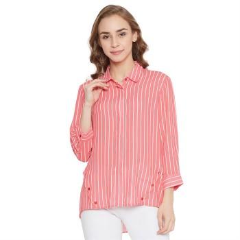 Madame Women Casual Wear Peach Shirt