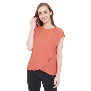 Madame Women Casual Wear Orange Top