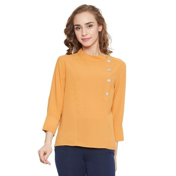 Madame Women Casual Wear Yellow Top