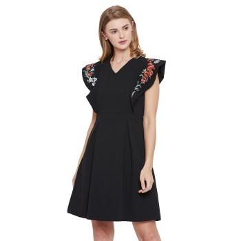 Madame Women Party Wear Black Skater Dress
