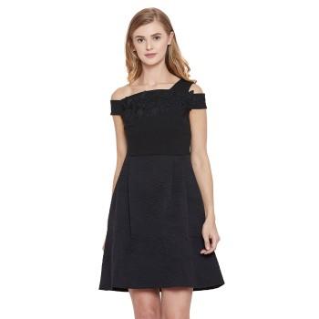 Madame Women Party Wear Black Fit & Flare Dress