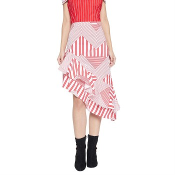 Madame Women Casual Wear Red Asymmetrical Skirt