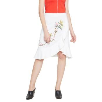 Madame Women Casual Wear White Tulip Skirt