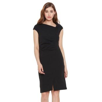 Madame Women Party Wear Black Bodycon Dress